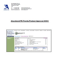 Alucobond PE Florida Product Approval 4501