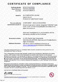 Dibond® UL Certificate of Compliance